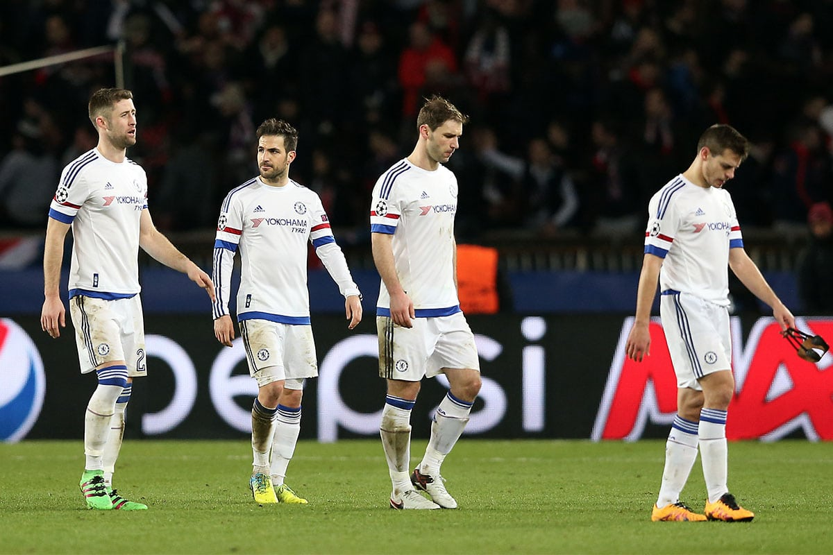 Chelsea's Gary Cahill, Cesc Fabregas, Branislav Ivanovic and Cesar Azpilicueta look dejected after the final whistle