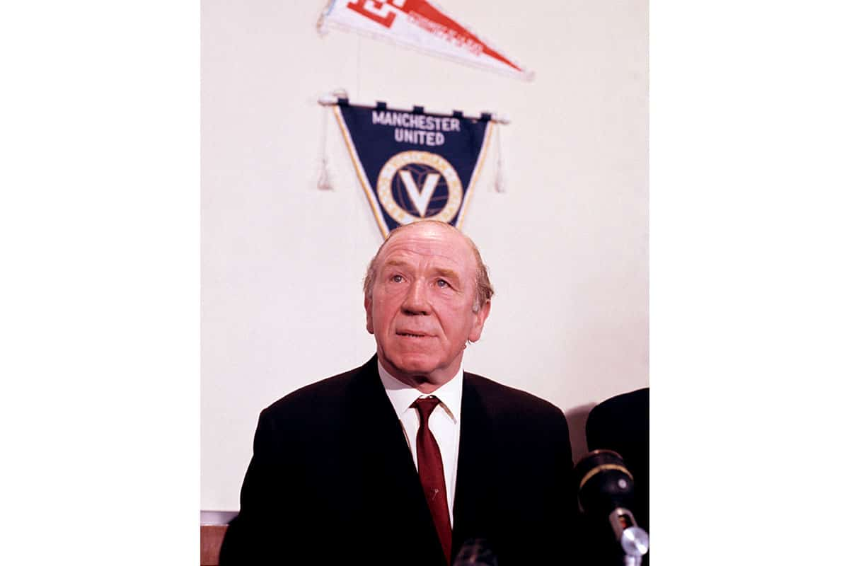 Matt Busby attends press conference