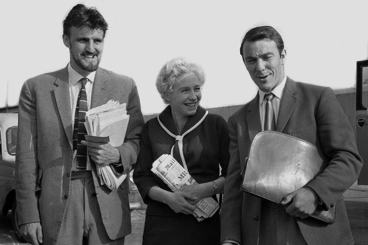 Jimmy greaves with wife and agent en route to Milan