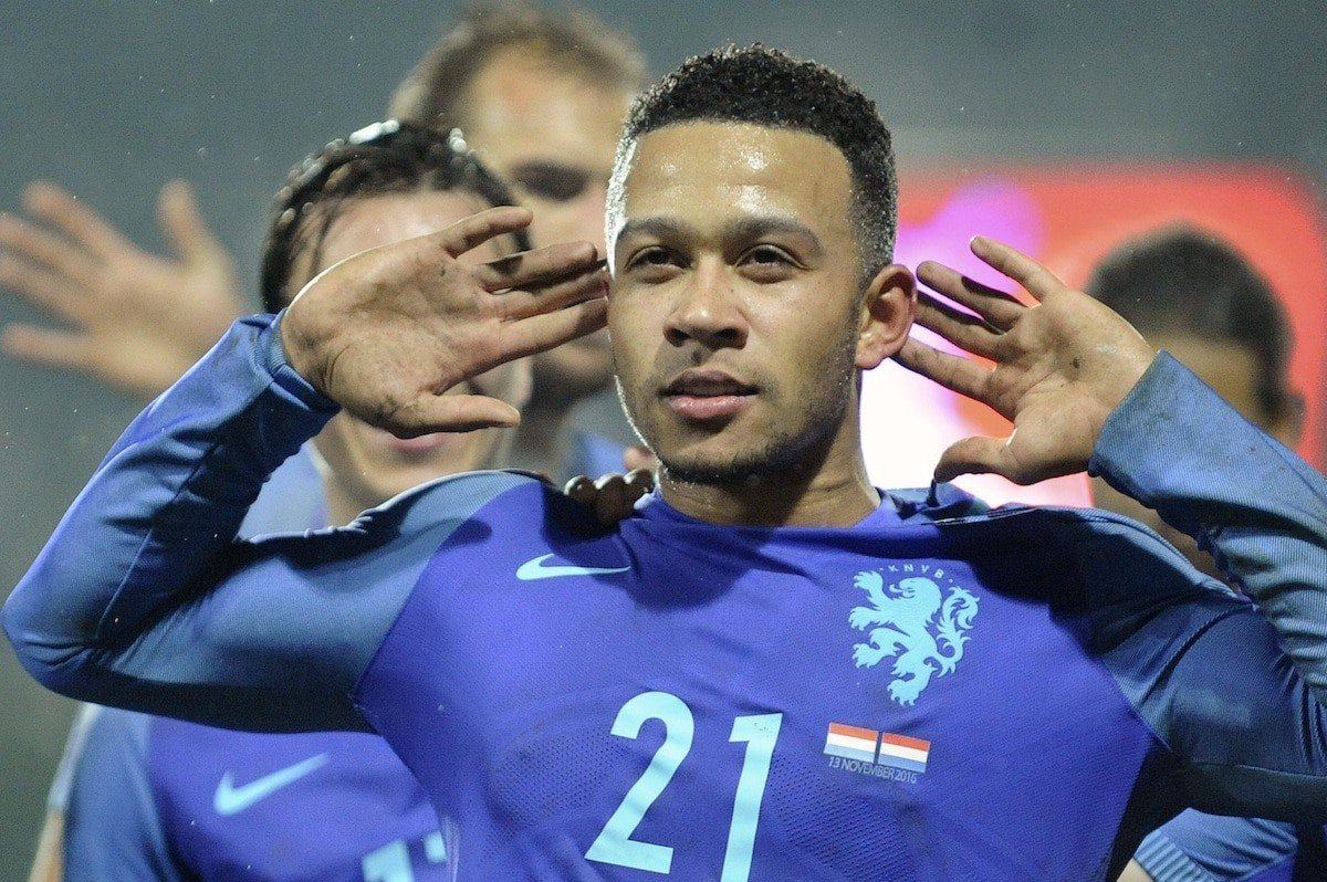 Netherland's Memphis Depay reacts after scoring the1-3 during their World Cup Group A qualifying soccer match at the Josy Barthel stadium in Luxembourg on Sunday, Nov 13, 2016. (AP Photo/Laurent Dubrule)