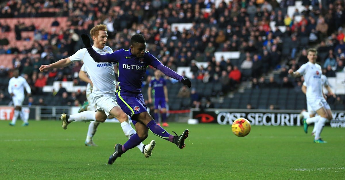 Charlton Athletic's Ademola Lookman scores his side's first goal of the game against MK Dons'
