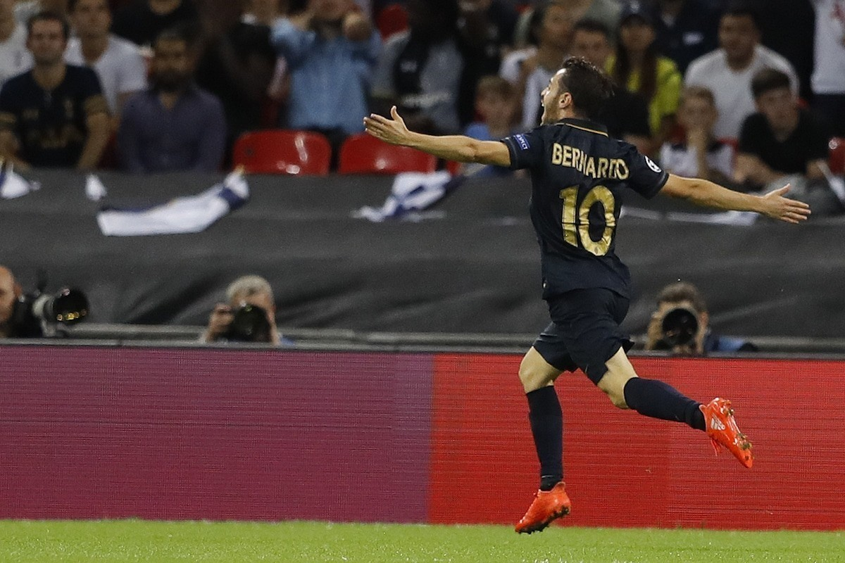 Monaco's Bernardo Silva celebrates scoring a goal during the Champions League Group E soccer match between Tottenham Hotspur and Monaco at Wembley stadium