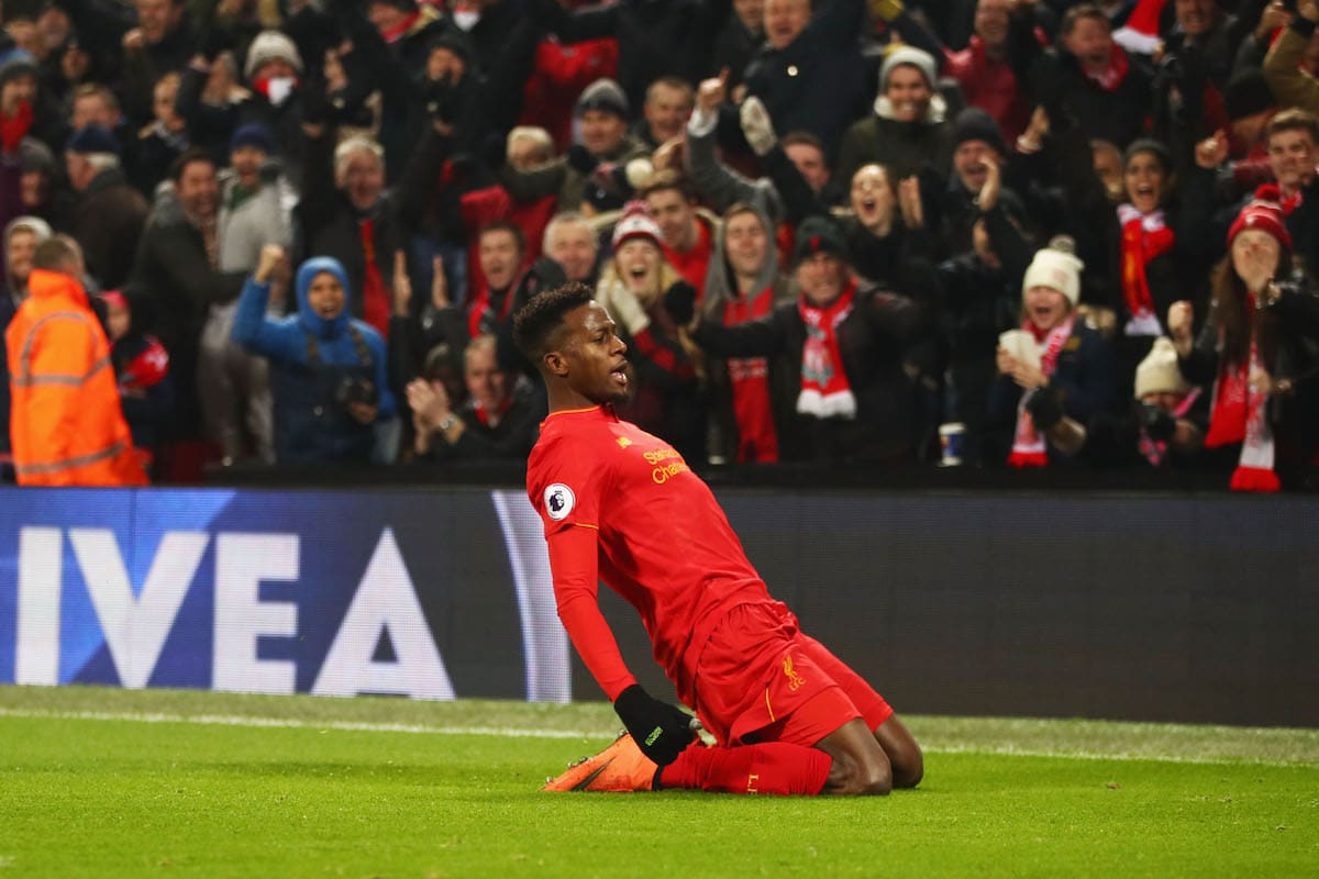 Divock Origi scoring against Sunderland for Liverpool.