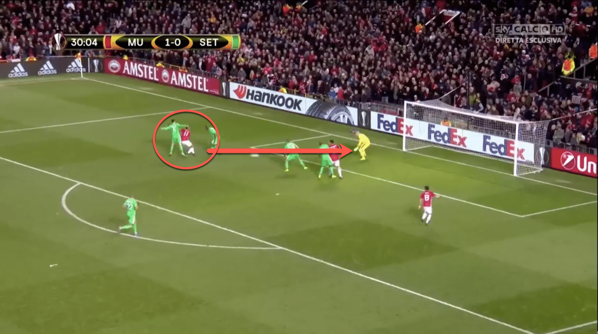 In the above sequence, taken from United Europa League victory over St. Etienne, we see Martial's ability to create a scoring opportunity out of nothing. Receiving the ball deep inside his own half, he dribbles beyond two players before getting a shot on target from 10 yards out.