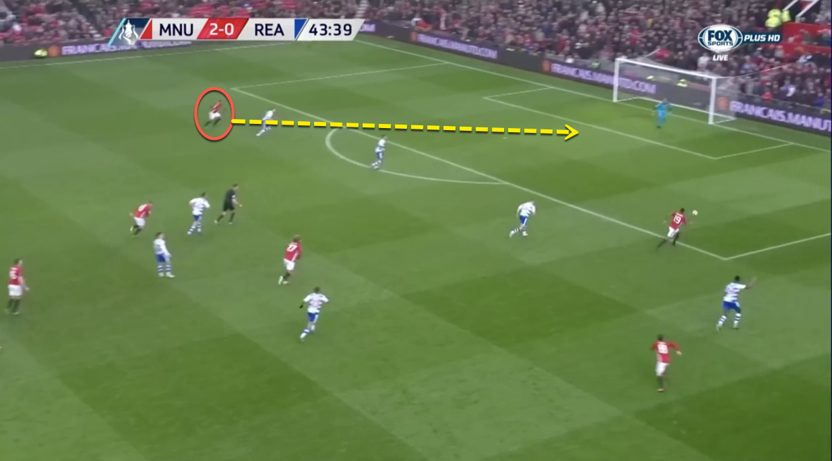 Above, Martial breaks from wide into a central zone, sniffing out a scoring chance.