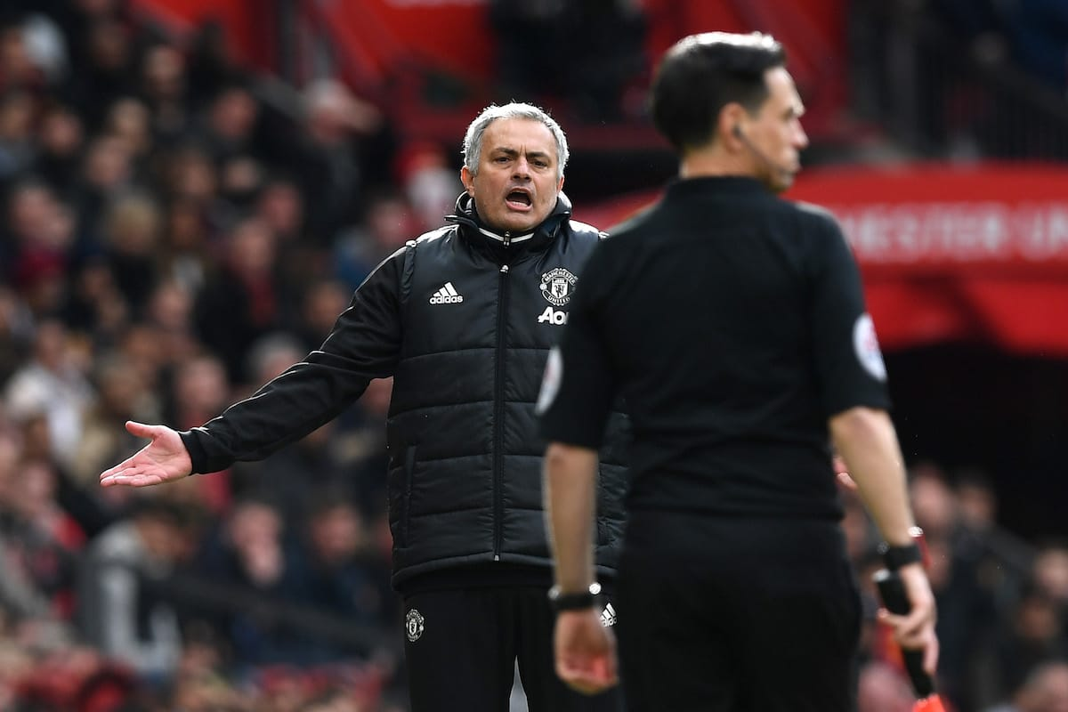 Jose Mourinho, Manager of Manchester United reacts during the Premier League match between Manchester United and Chelsea at Old Trafford