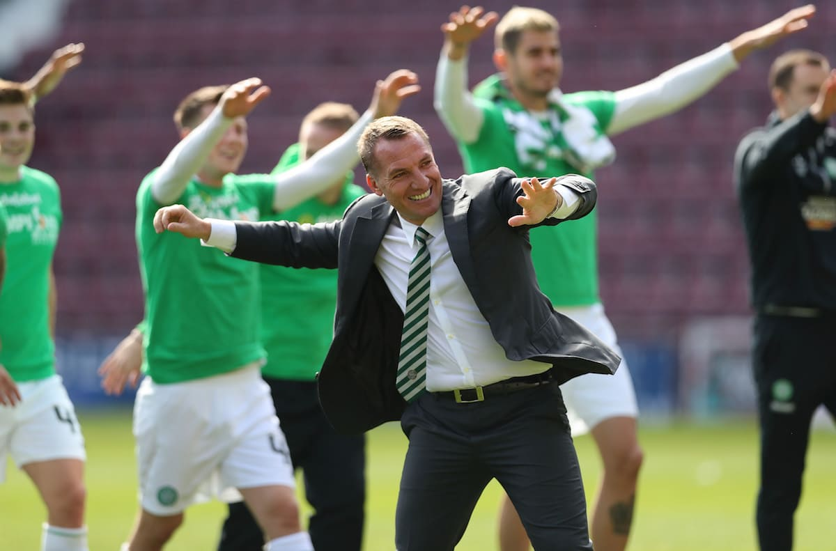 Celtic boss Brendan Rodgers celebrates after winning the league with a 5-0 victory over Hearts