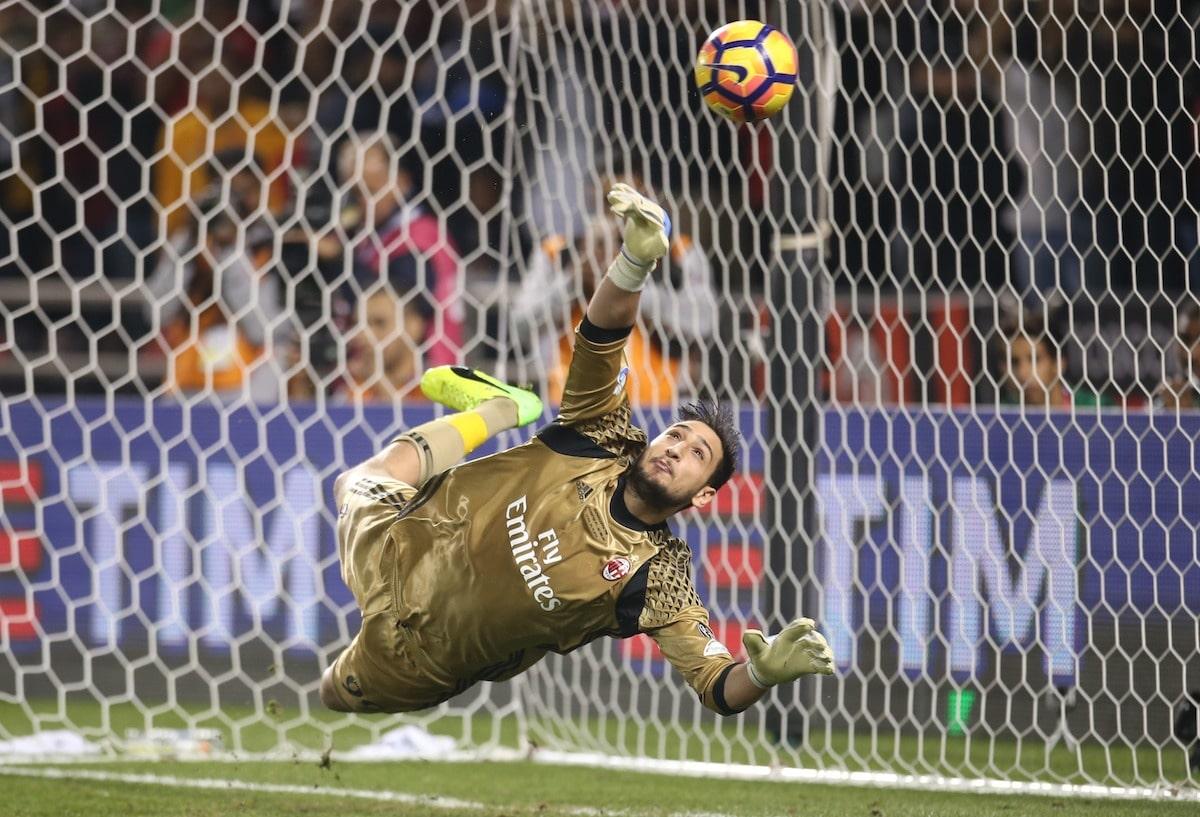 Milan goalkeeper Gianluigi Donnarumma in action for Milan against Juventus in the Italian Cup