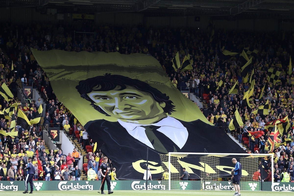 Watford owner Gino Pozzo is acknowledged by Watford supporters
