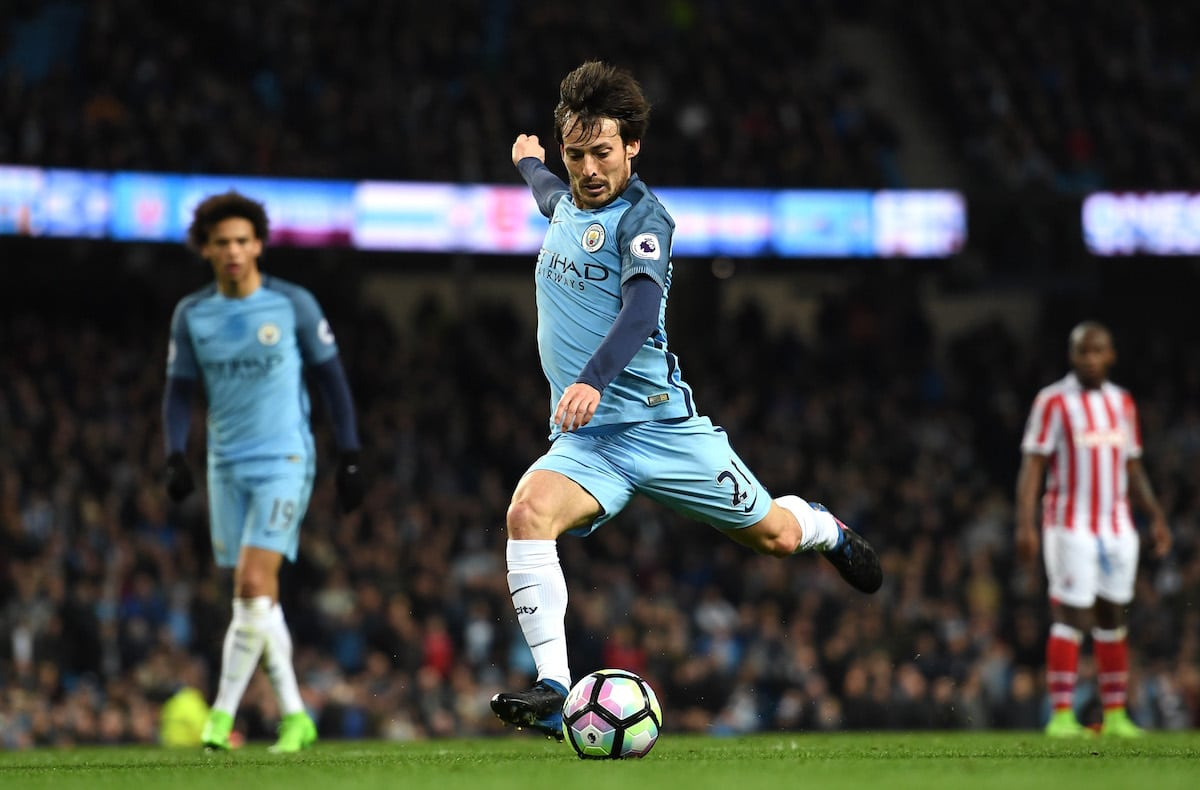 Manchester City midfielder David Silva in Premier League action against Stoke City