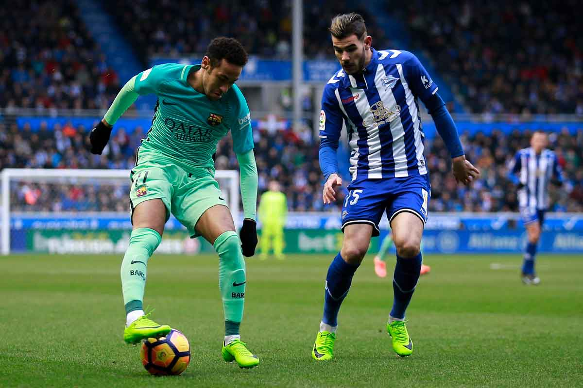 Barcelona forward Neymar and Alaves defender Theo Hernandez