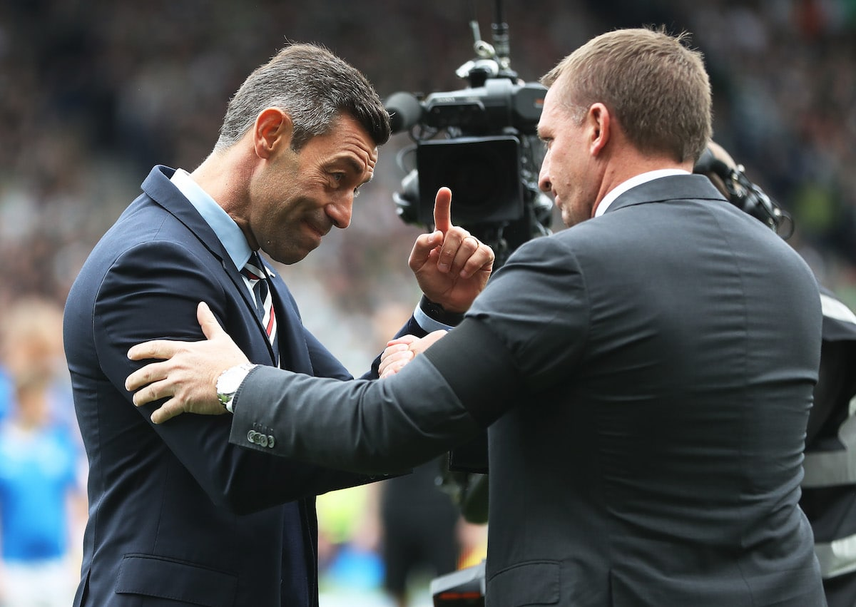 Rangers boss Pedro Caixinha and Celtic manager Brendan Rodgers before kick-off