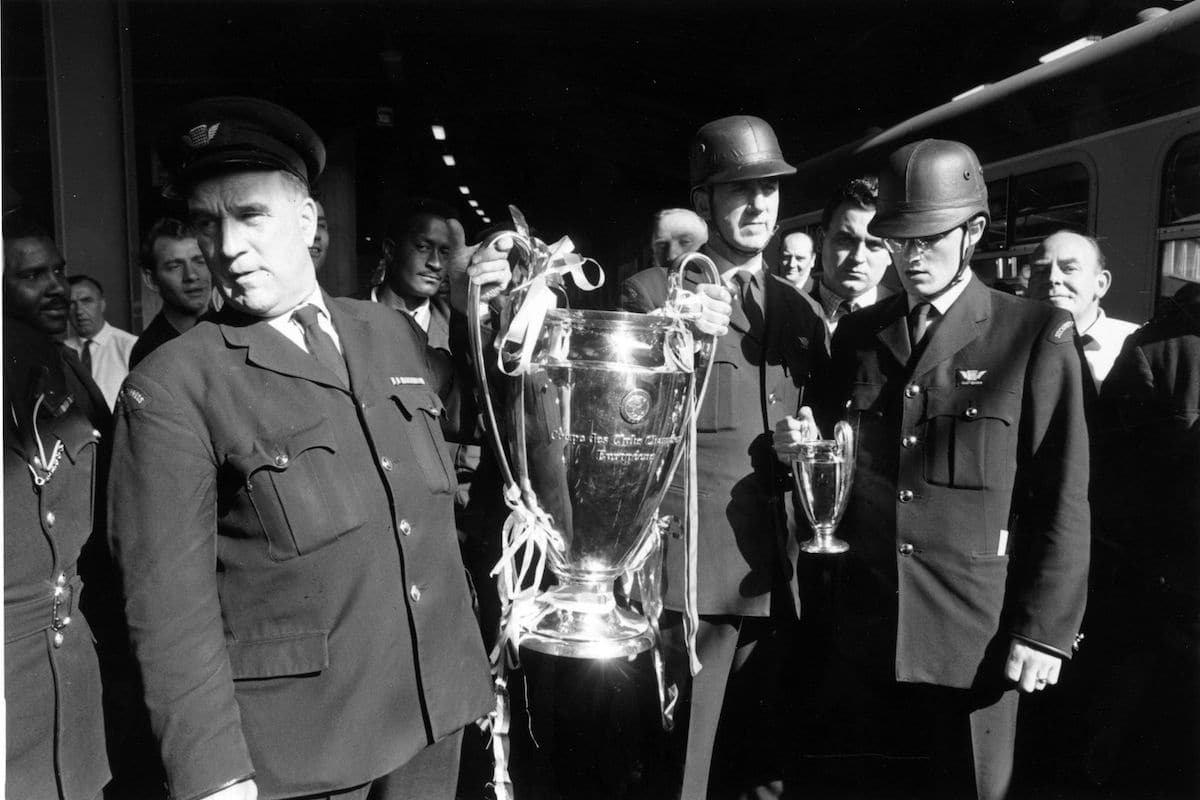 The European Cup is escorted to Britain following Manchester United's 4-1 victory over Benfica in the European Cup final.
