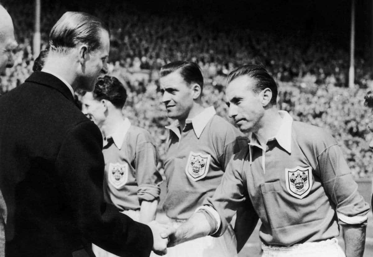 Sir Stanley Matthews shakes hands with the Duke of Edinburgh