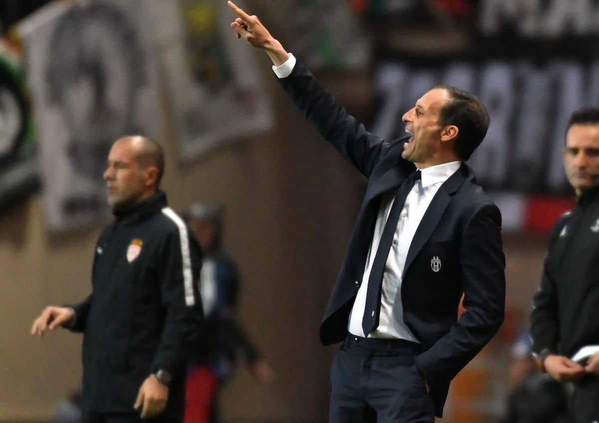 Juventus manager Max Allegri instructs his side in the Champions League semi-final against Monaco