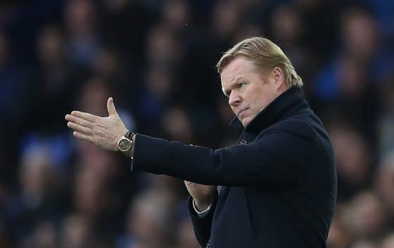 Everton manager Ronald Koeman instructs his side against Liverpool in the Premier League