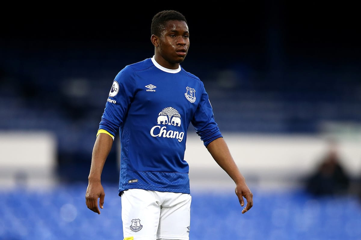 Ademola Lookman of Everton looks on during the Premier League 2 match between Everton and Tottenham Hotspur