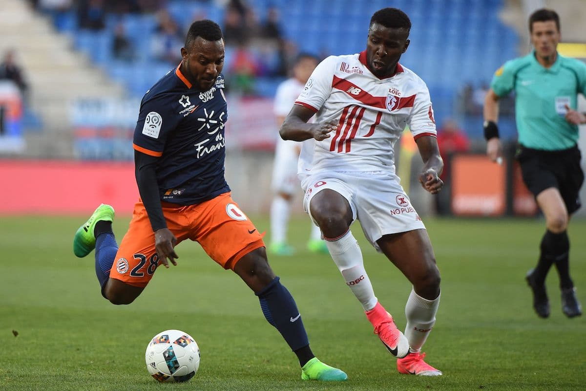 Montpellier's midfielder Stephane Sessegnon (L) vies with Lille's defender Ibrahim Amadou during the French L1 football match Montpellier (MHSC) vs Lille (LOSC)