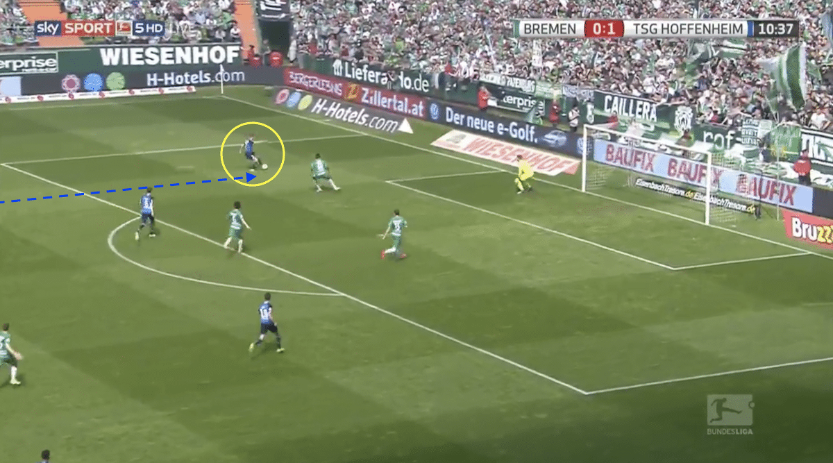 Andrej Kramaric scores for Hoffenheim against Werder Bremen in the Bundesliga