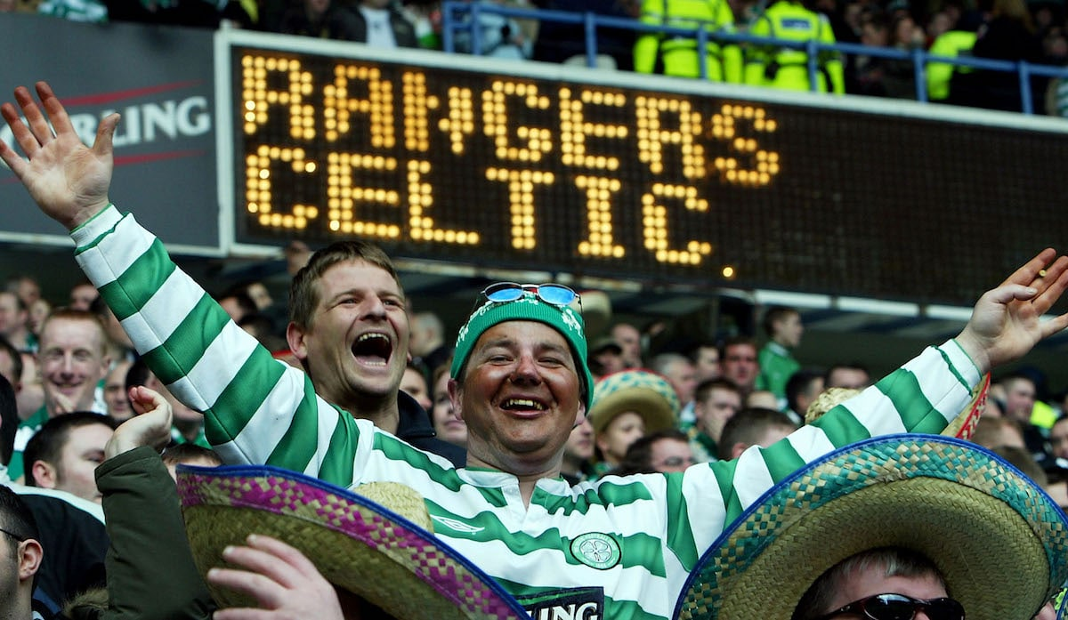 Celtic fans at the Old Firm derby v Rangers