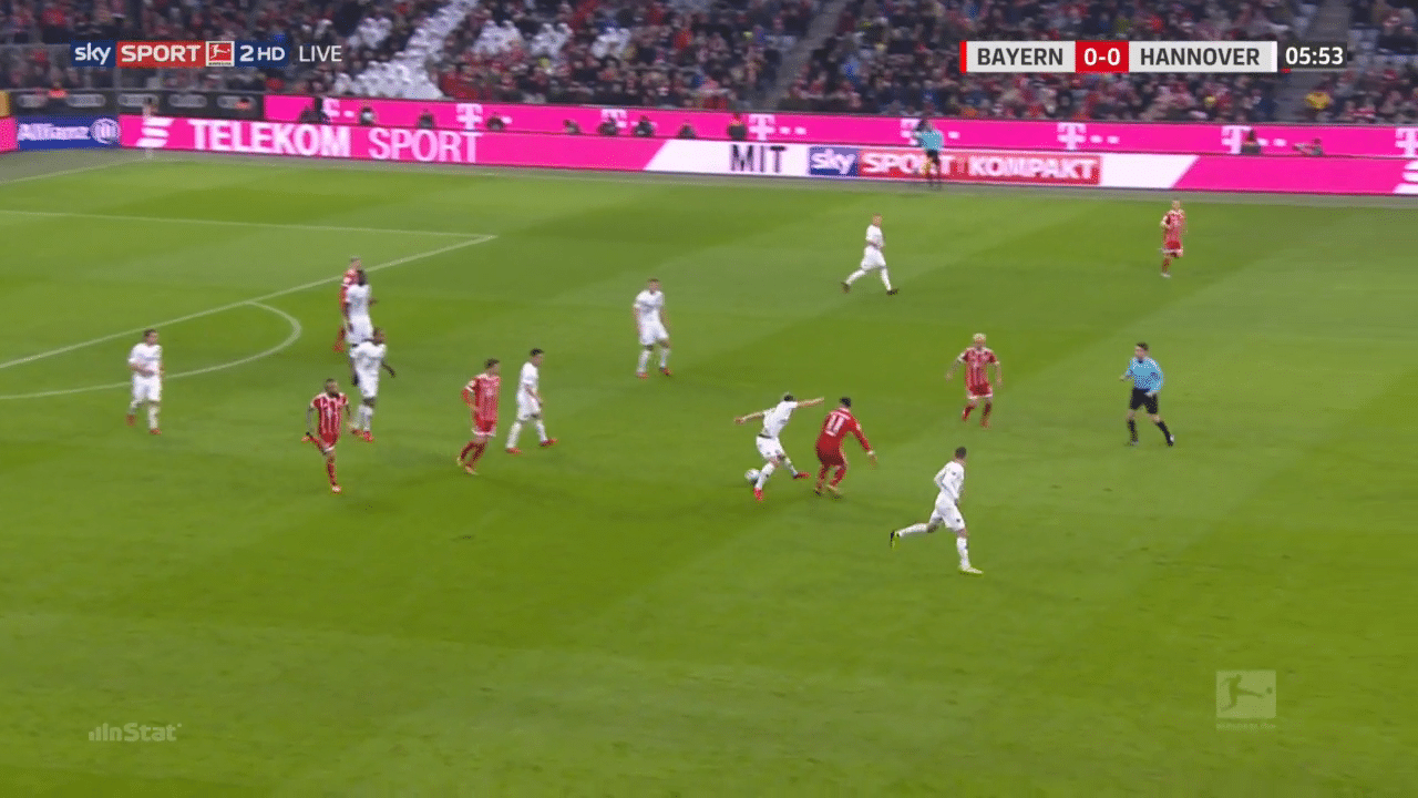 James Rodríguez displays his counter-pressing quality v Hannover