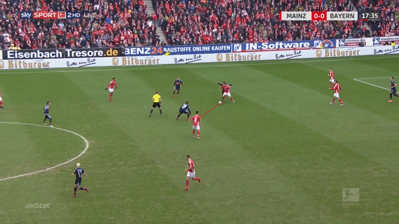 James Rodríguez displays his counter-pressing quality v Mainz