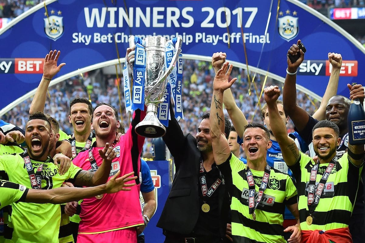 Huddersfield Town celebrate after winning the 2017 Championship Play-Off Final