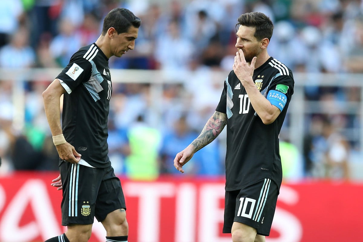 Argentina's Angel Di Maria and Lionel Messi