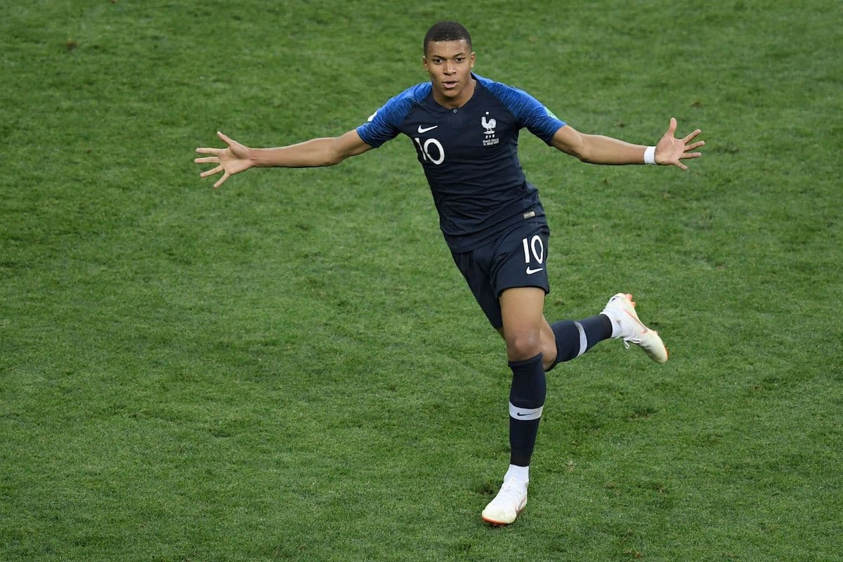Kylian Mbappe celebrates after scoring a goal during the Russia 2018 World Cup final football match between France and Croatia