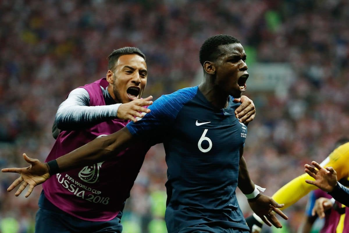Paul Pogba scored the 3-1 goal during the Russia 2018 World Cup final football match between France and Croatia