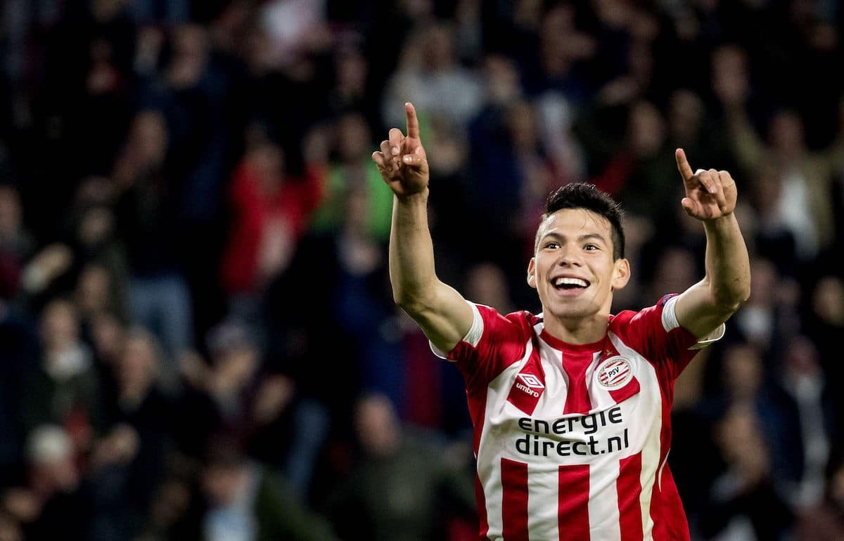 PSV Eindhoven's Mexican forward Hirving Lozano celebrates scoring against Tottenham Hotspur