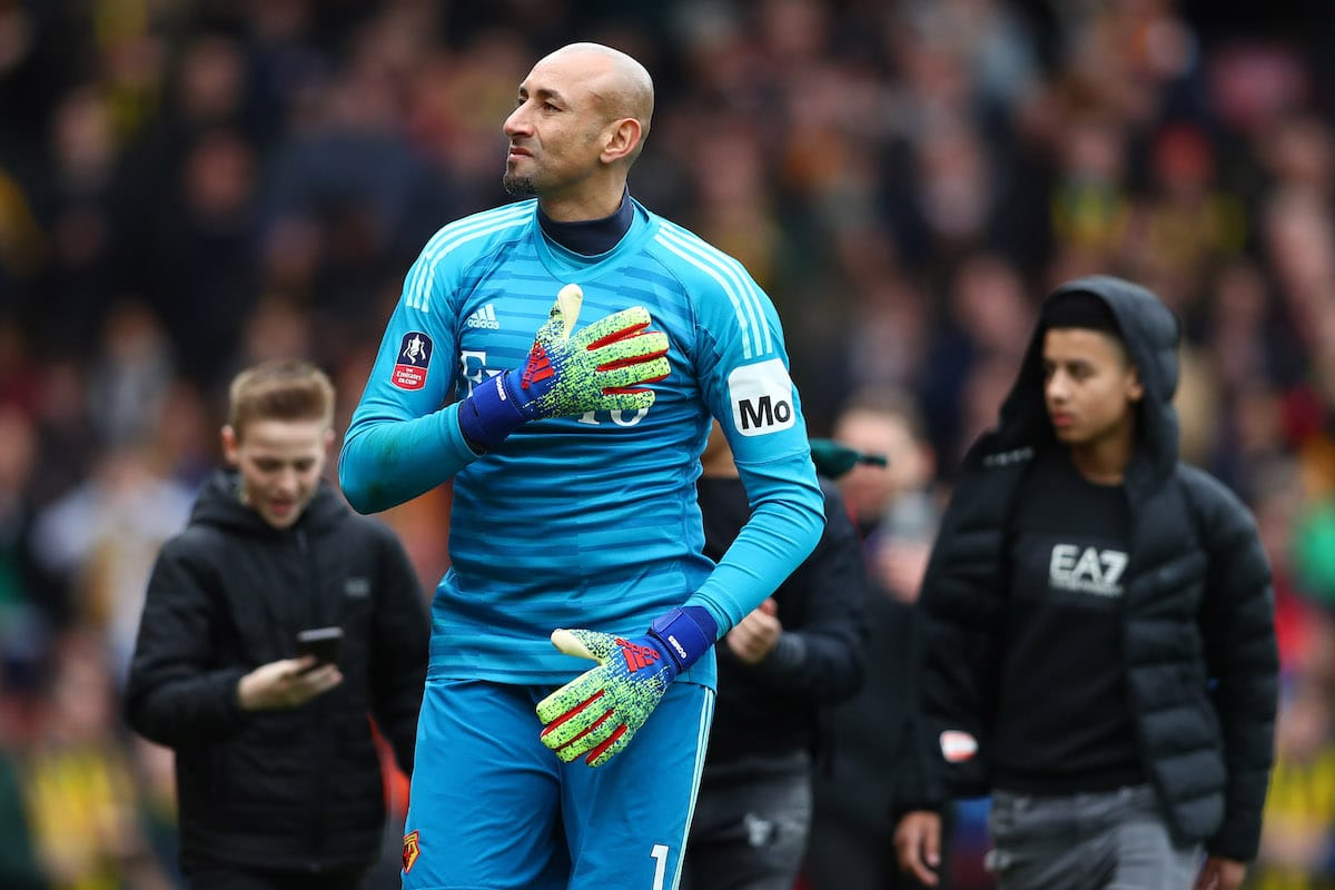 Watford goalkeeper Heurelho Gomes celebrates his side's FA Cup quarter-final win over Crystal Palace