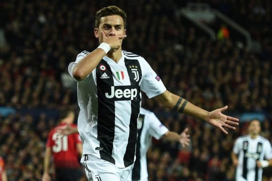 Juventus forward Paulo Dybala celebrates scoring against Manchester United in the Champions League