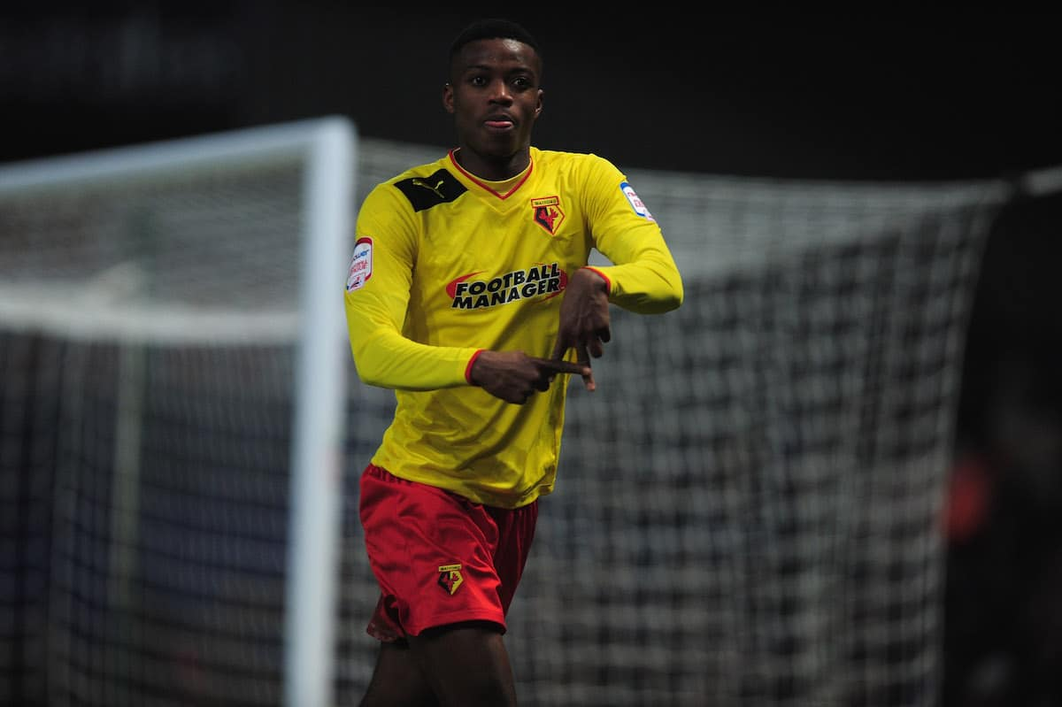 Nathaniel Chalobah celebrates after scoring for Watford in their Championship game against Ipswich