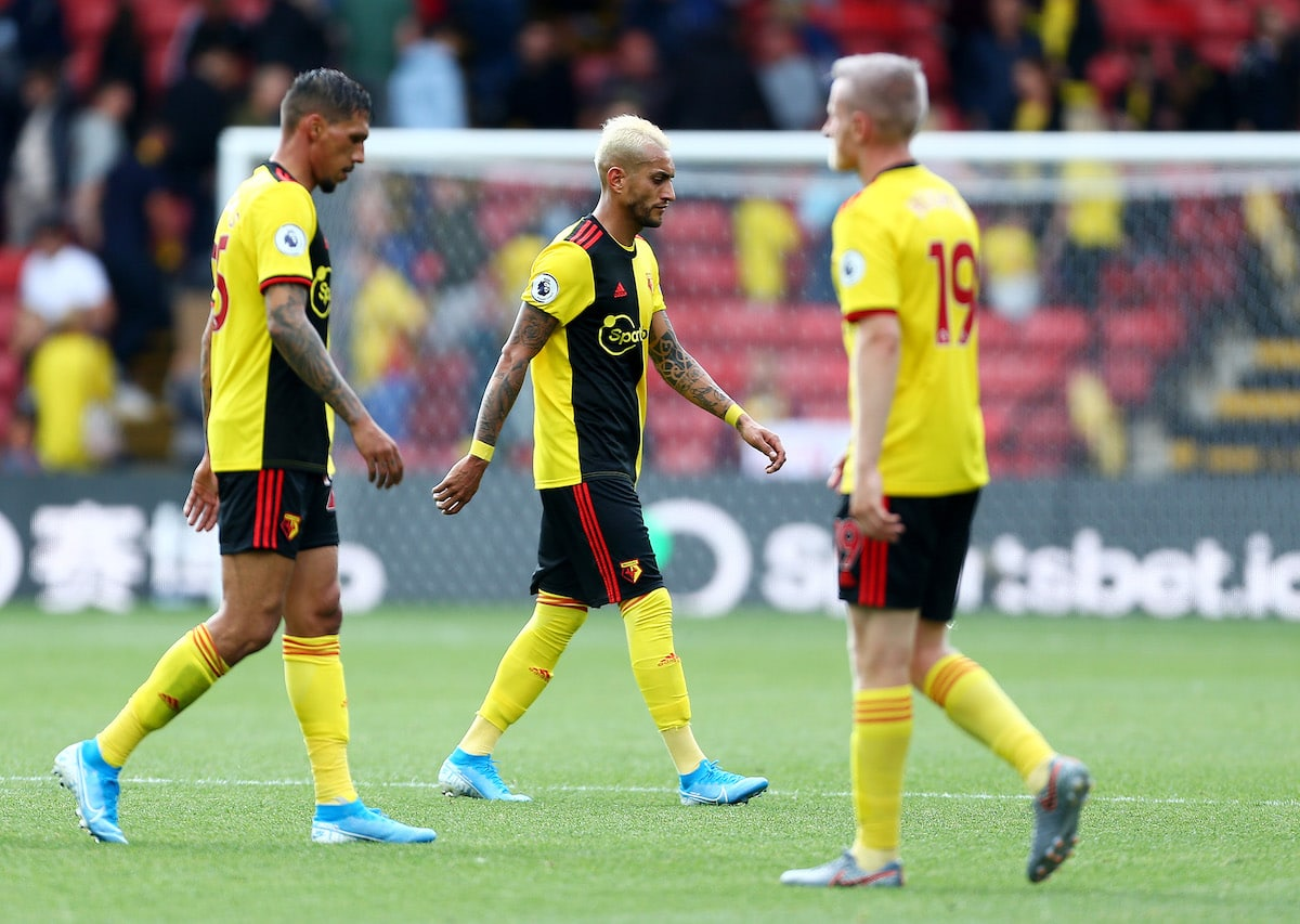 Roberto Pereyra of Watford walks off the pitch dejected after the Premier League match between Watford FC and Brighton