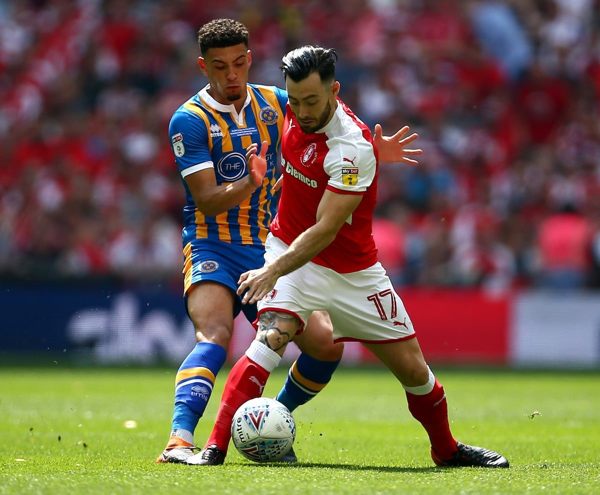 Ben Godfrey in action for Shrewsbury Town against Rotherham United in the League One play-off final in 2018
