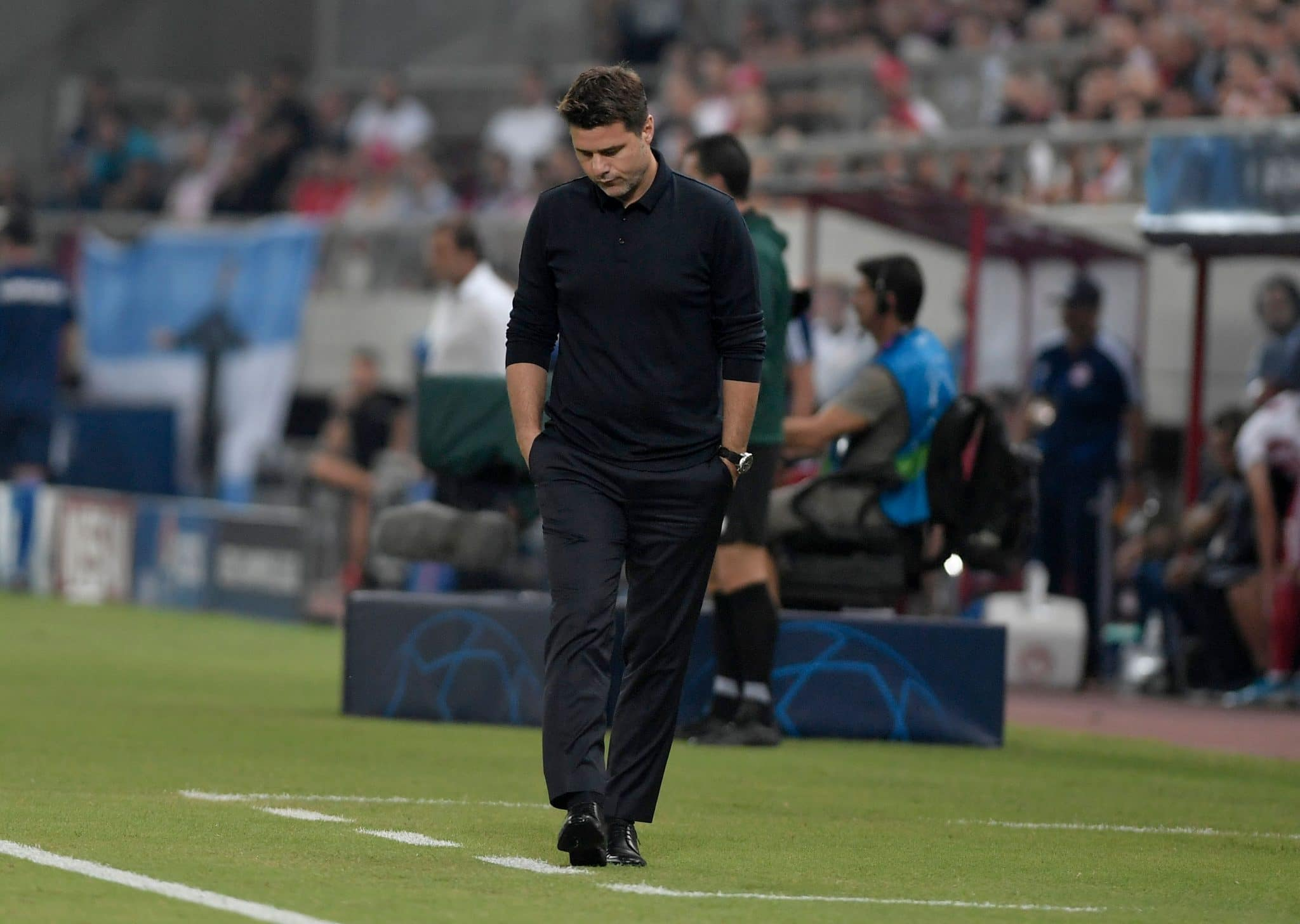 Tottenham Hotspur's Argentinian head coach Mauricio Pochettino reacts in their Champions League draw against Olympiacos