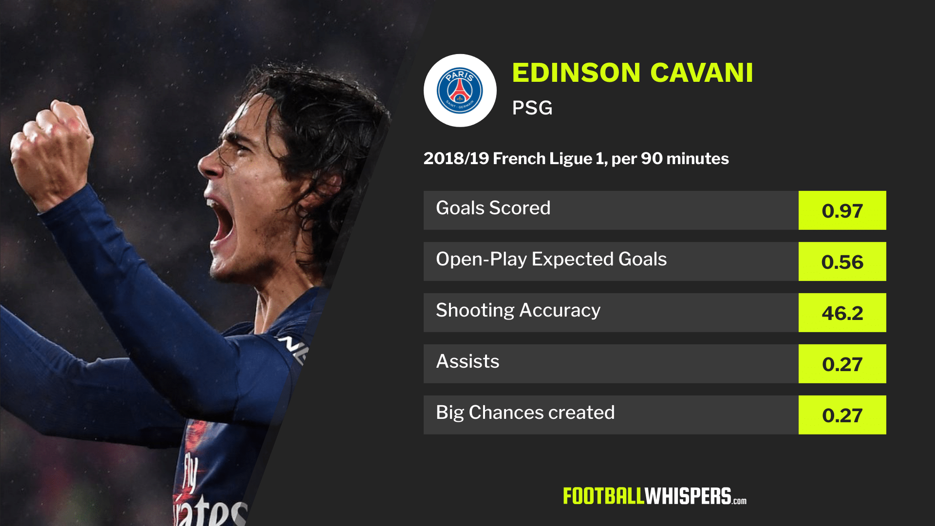2018/19 Ligue 1 stats for Paris Saint-Germain striker Edinson Cavani