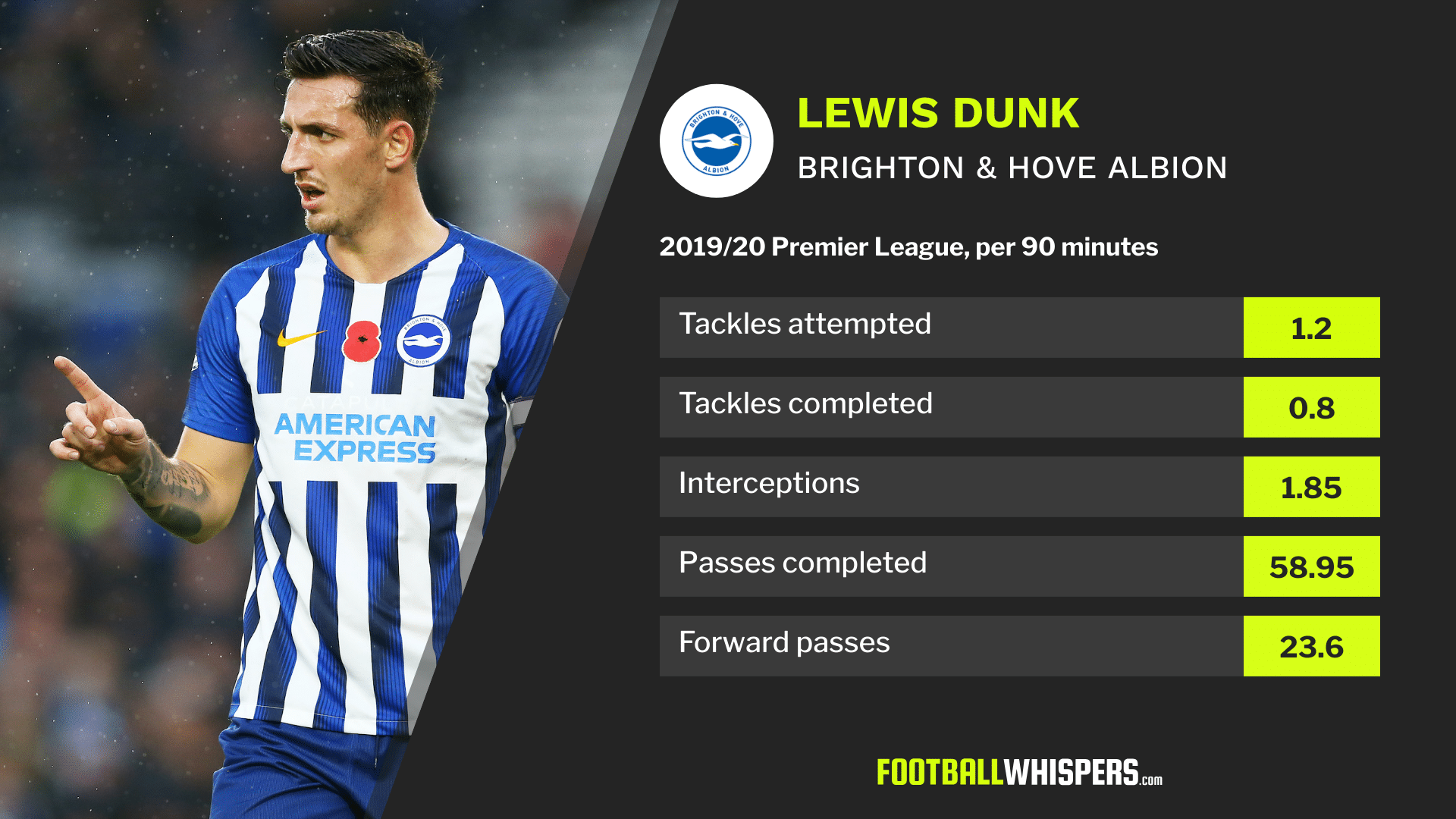 Stats for Brighton & Hove Albion defender Lewis Dunk