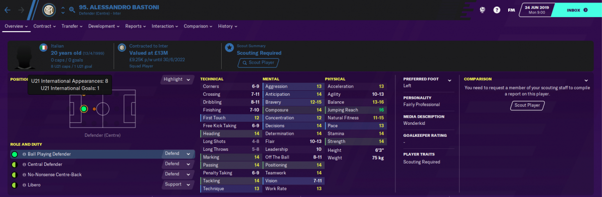 Alessandro Bastoni on Football Manager 2020.