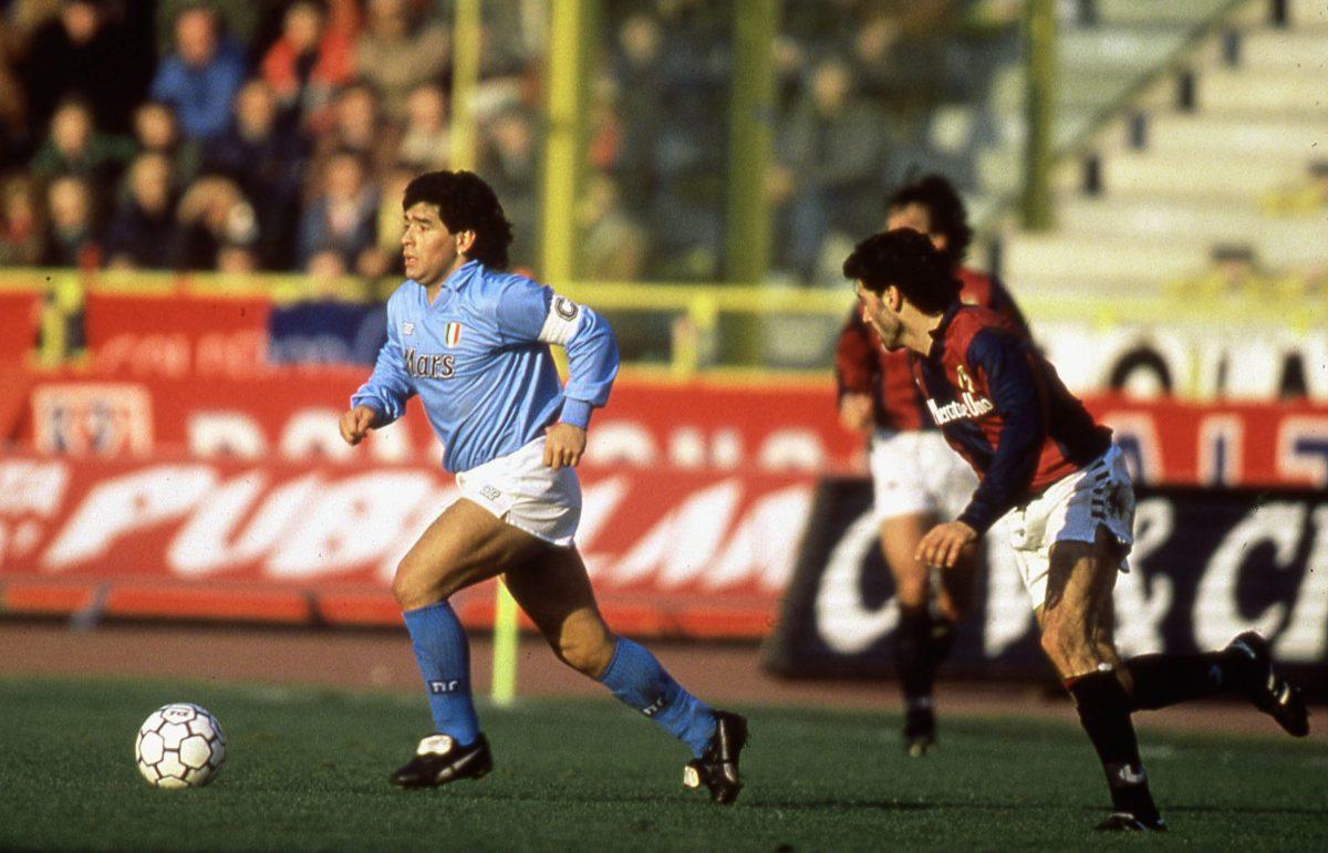 Diego Maradona in action for Napoli - retro Serie A kit