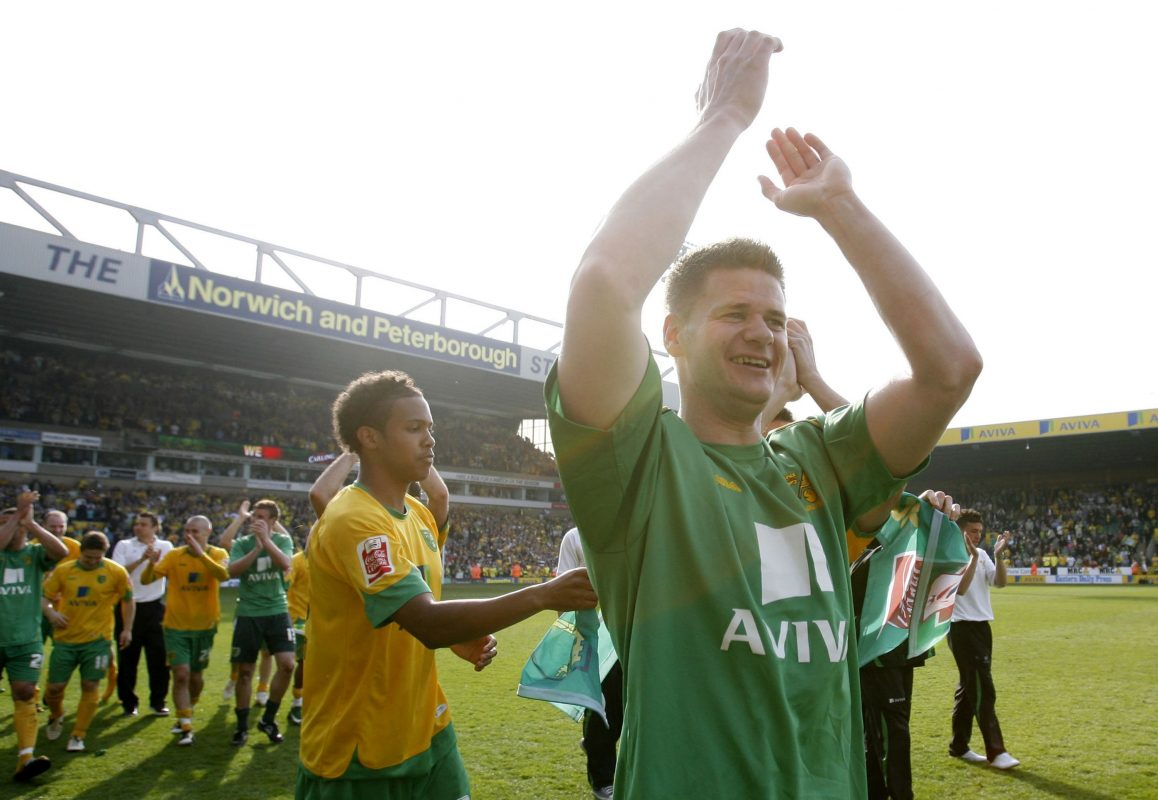 Michael Nelson celebrates winning the League One title with Norwich City