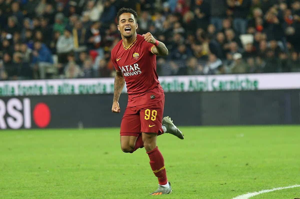 Justin Kluivert of AS Roma celebrates after scoring