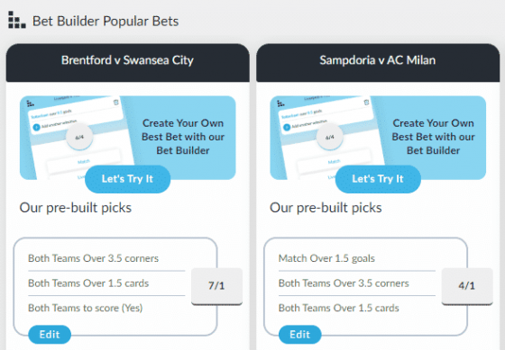 Bet Builder - BetVictor's Football Betting Tools