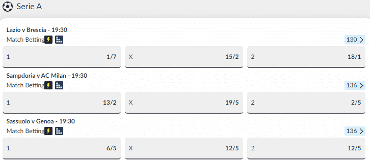 BetVictor Football Betting - Serie A Odds