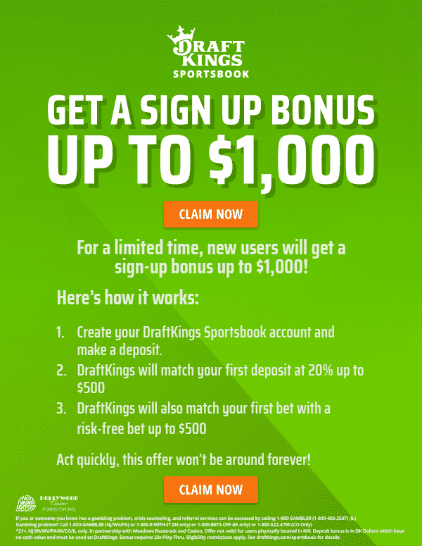 draftkings 1000 bonus