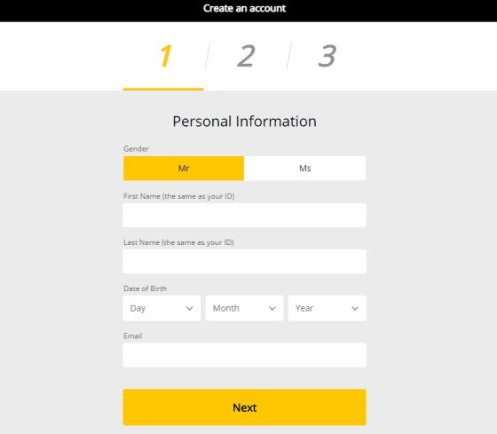 Registration using the 10CRIC Bonus Code