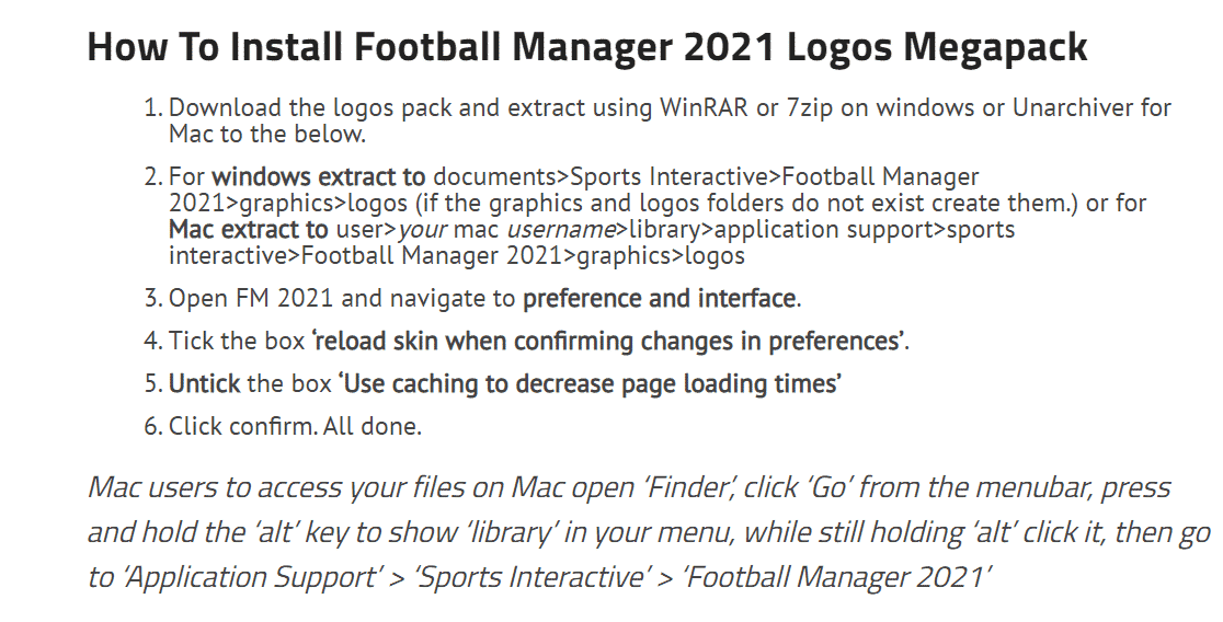 fm21 logo instructions