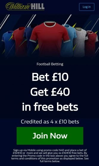 william hill sports offer Uk Mobile only