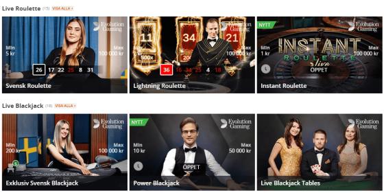 Betsson Bonus: Live Casino